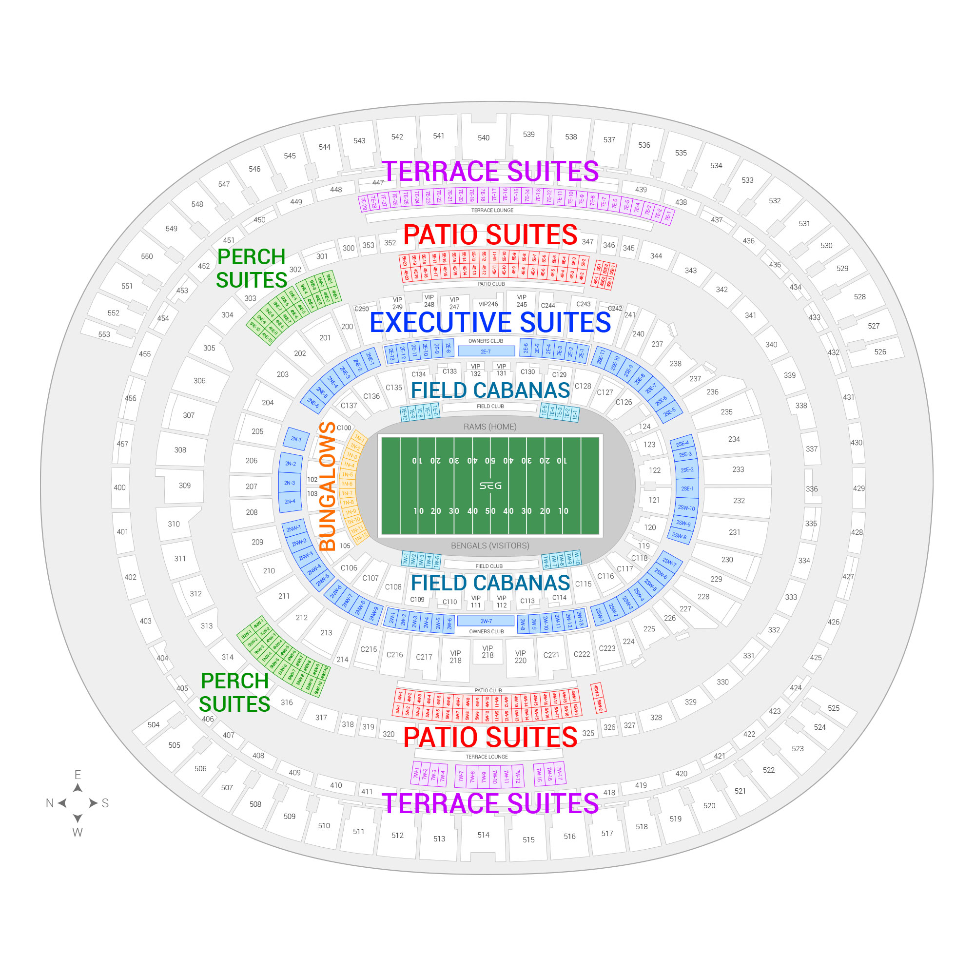 SoFi Stadium / Super Bowl LVI Suite Map and Seating Chart