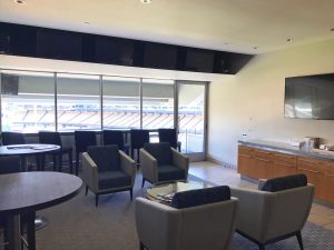 A suite being prepared for an upcoming game at Dodger Stadium