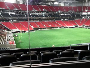 The view from a suite at the newly built Mercedes-Benz Stadium